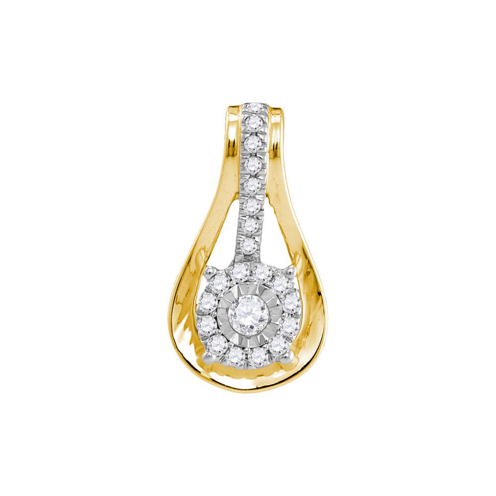 Diamond Flower Cluster Teardrop Pendant 10kt Yellow Gold