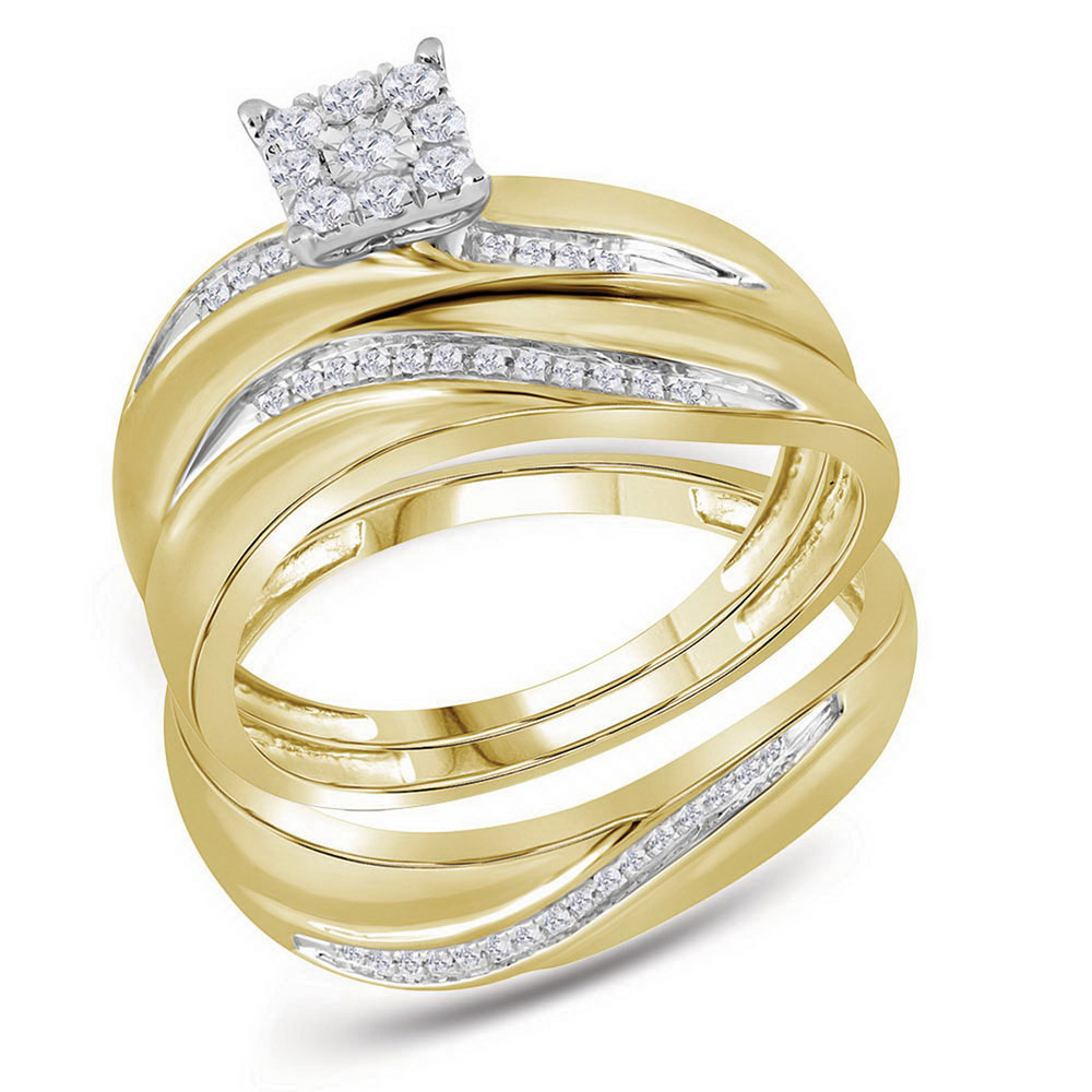 Lot 30184: His & Hers Diamond Cluster Matching Bridal Wedding Ring 10kt Yellow Gold