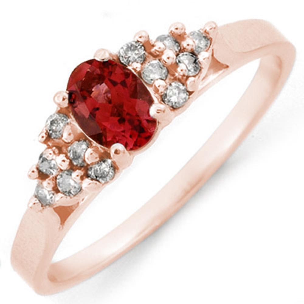 0.74 CTW Genuine Pink Tourmaline & Diamond Ring 14K Rose Gold