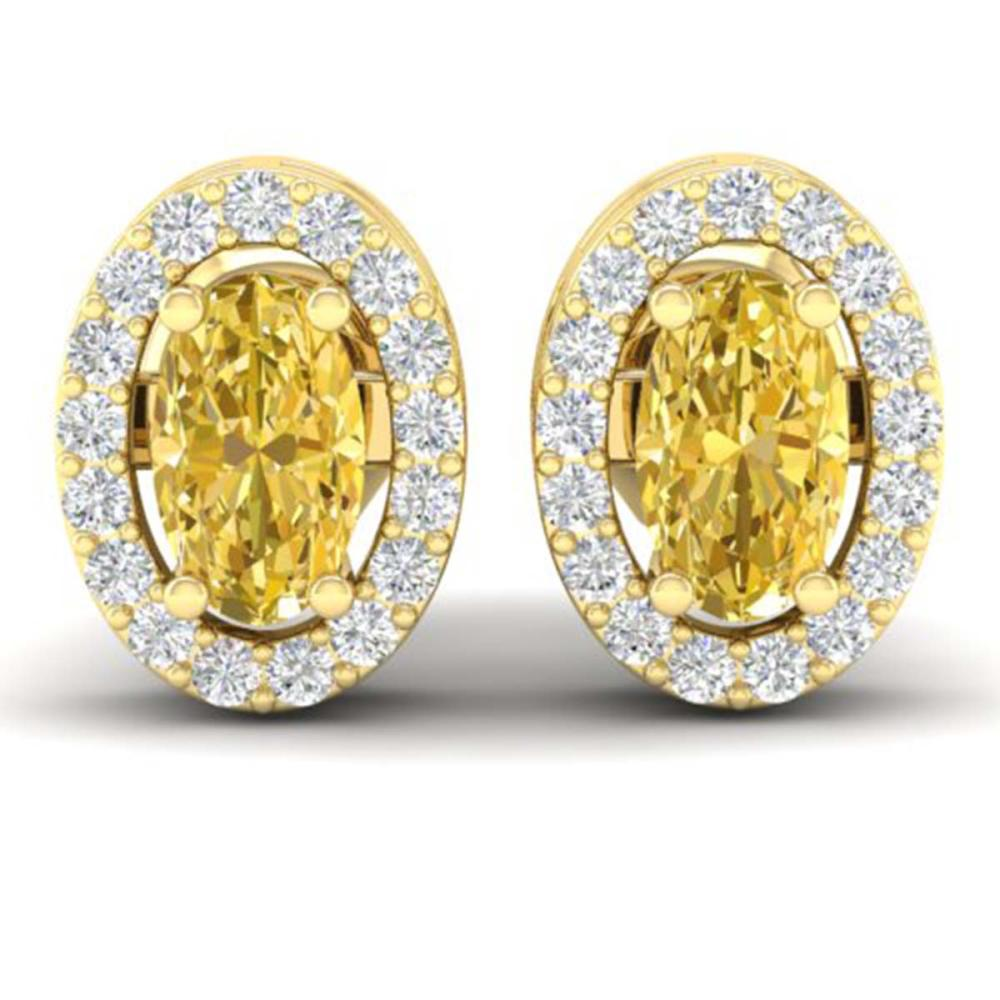 0.75 CTW Genuine Citrine & SI1-SI2 Diamond Earrings 18K Yellow Gold