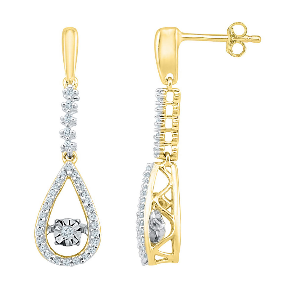 Lot 30198: Diamond Moving Twinkle Teardrop Dangle Earrings 10kt Yellow Gold