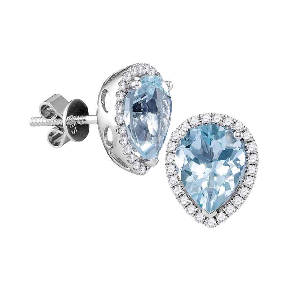Pear Aquamarine Diamond Stud Earrings 14kt White Gold