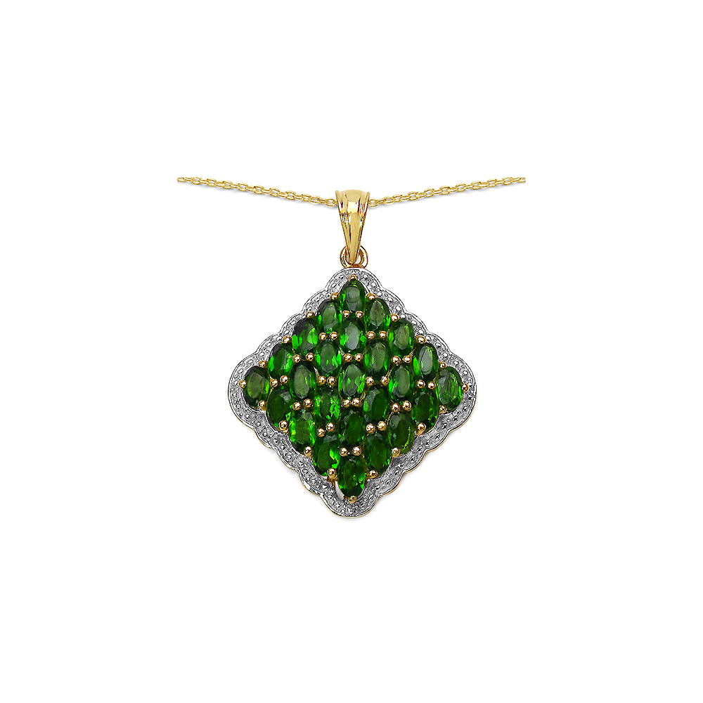 5.50 CTW Genuine Chrome Diopside.925 Sterling Silver Pendant