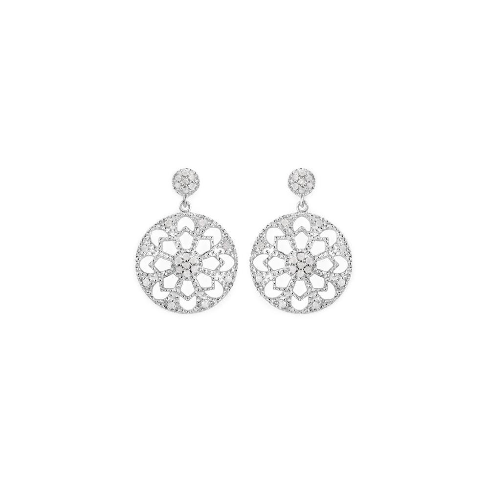 0.60 CTW Genuine White Diamond .925 Sterling Silver Earrings