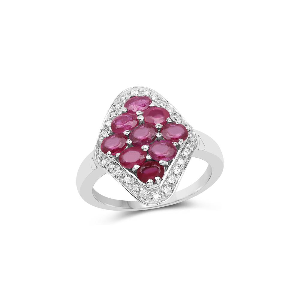 2.12 CTW Genuine Glass Filled Ruby & White Zircon .925 Sterling Silver Ring