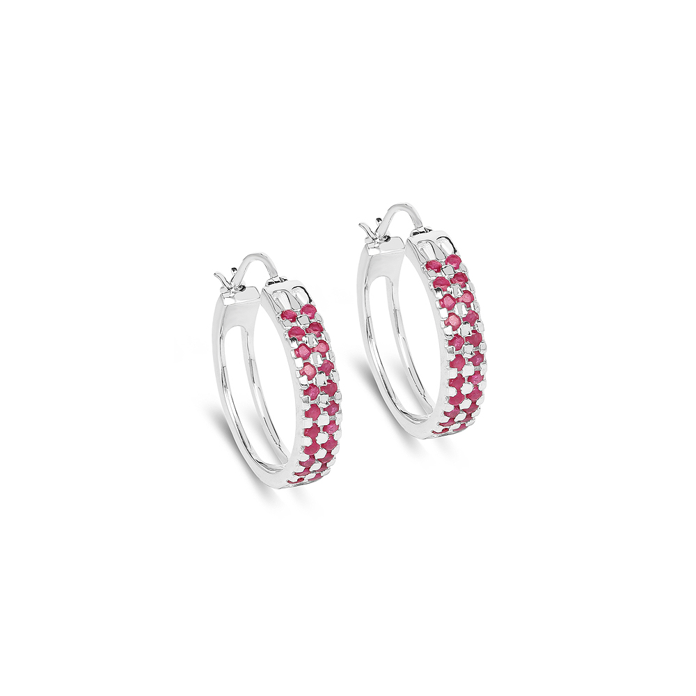 Lot 30050: 2.20 CTW Genuine Ruby .925 Sterling Silver Earrings