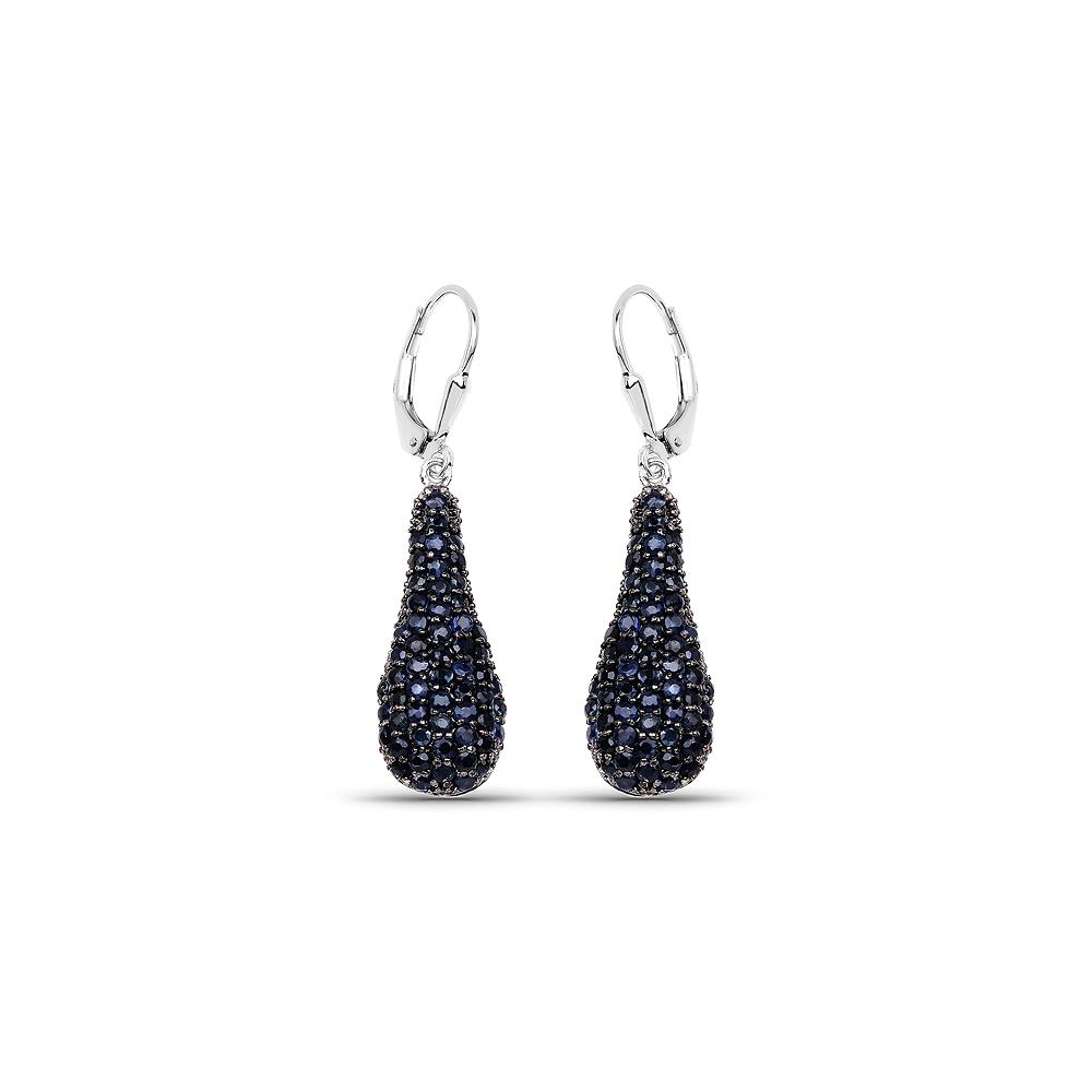 3.42 CTW Genuine Blue Sapphire .925 Sterling Silver Earrings