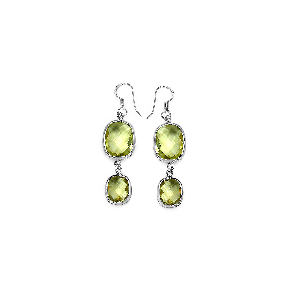 Lot 30059: 25.58 CTW Genuine Lemon Quartz .925 Sterling Silver Earrings