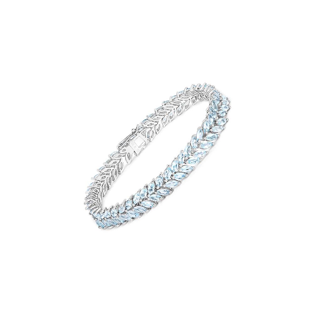 10.34 CTW Genuine Aquamarine .925 Sterling Silver Bracelet