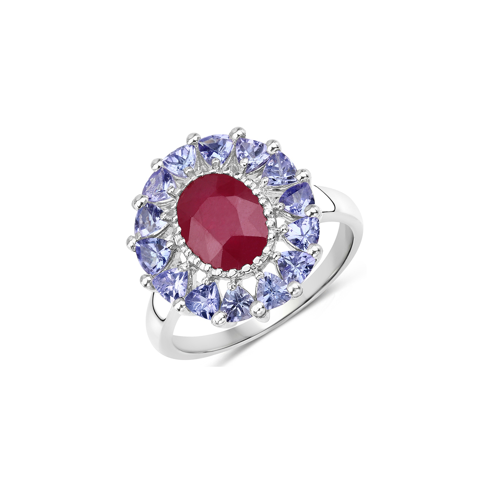 3.70 CTW Glass Filled Ruby & Tanzanite .925 Sterling Silver Ring