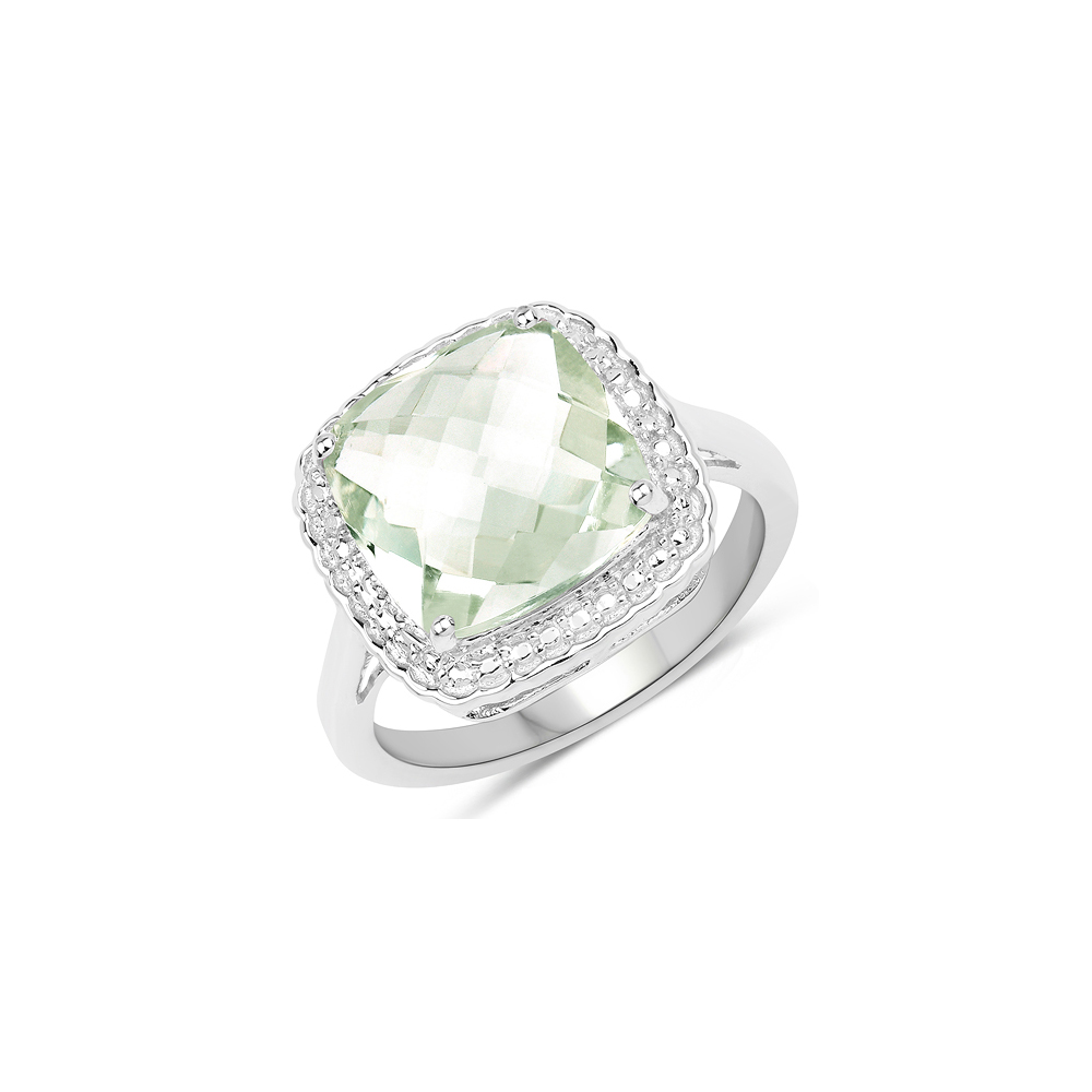 4.36 CTW Genuine Green Amethyst .925 Sterling Silver Ring