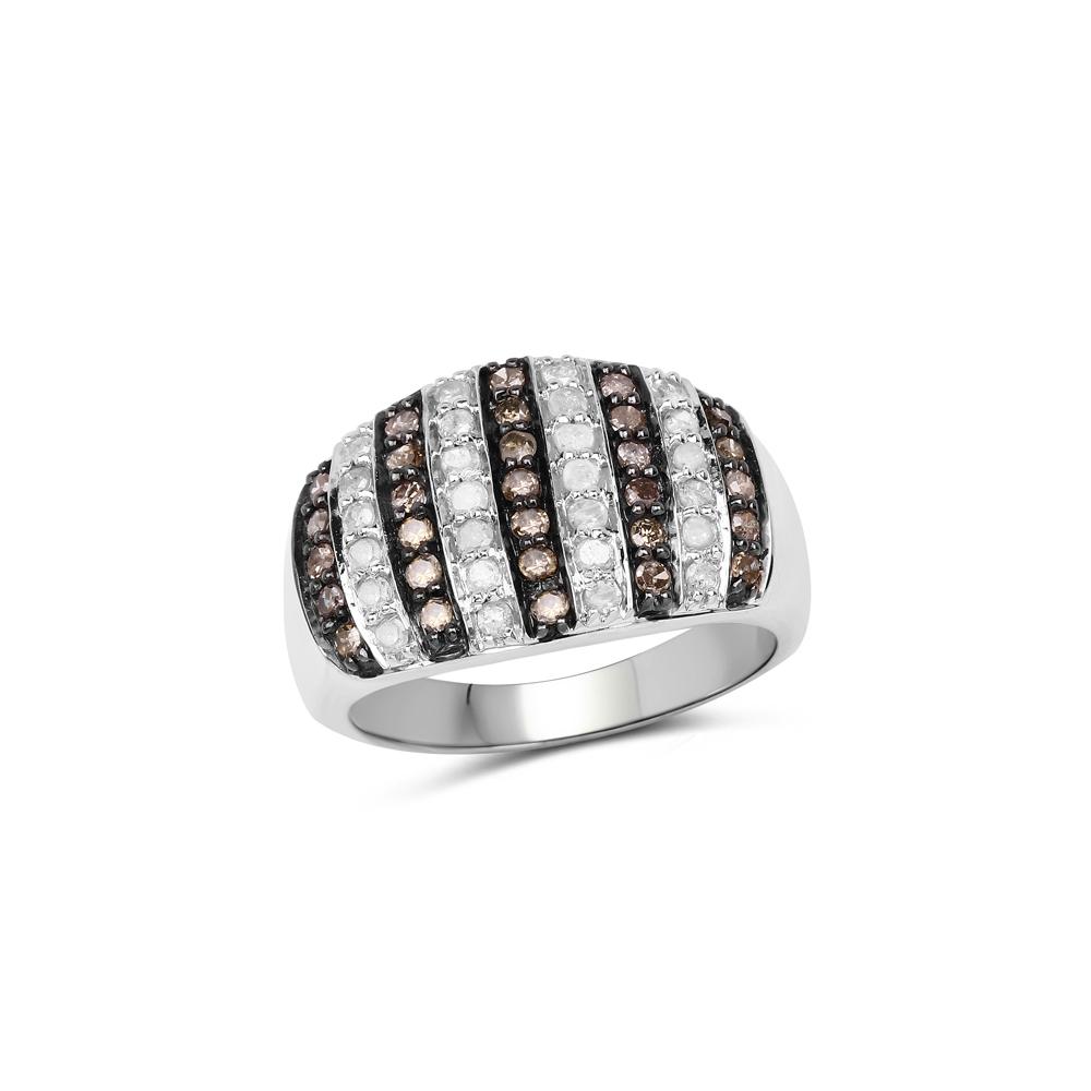 Lot 30078: 0.83 CTW Genuine Champagne Diamond & White Diamond .925 Sterling Silver Ring
