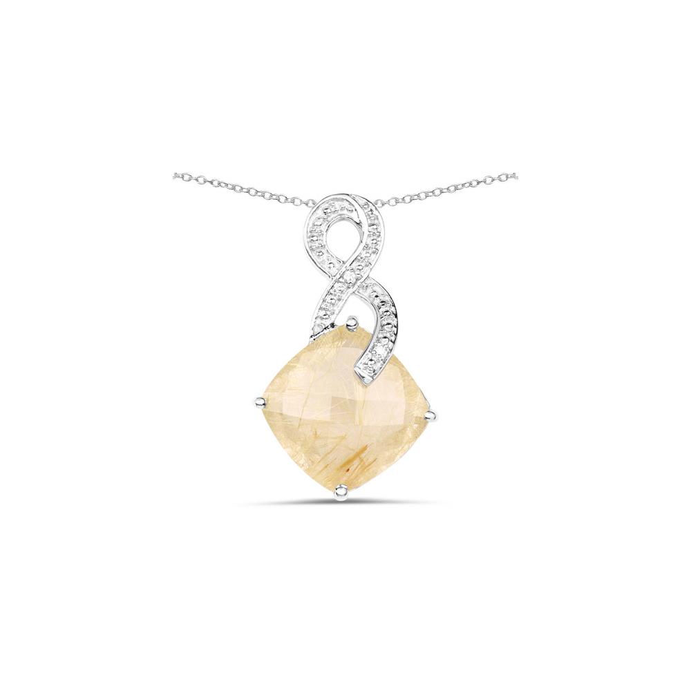 8.81 CTW Genuine Golden Rutile & White Diamond .925 Sterling Silver Pendant
