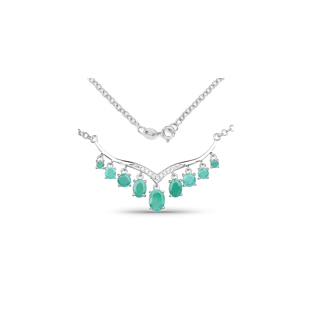 Lot 30096: 3.98 CTW Genuine Emerald & White Diamond .925 Sterling Silver Necklace