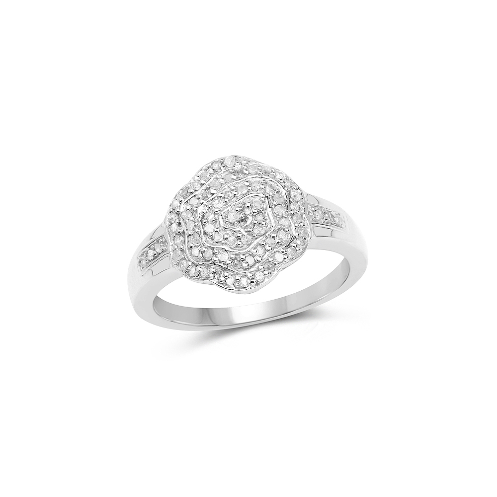 0.29 CTW Genuine White Diamond .925 Sterling Silver Ring