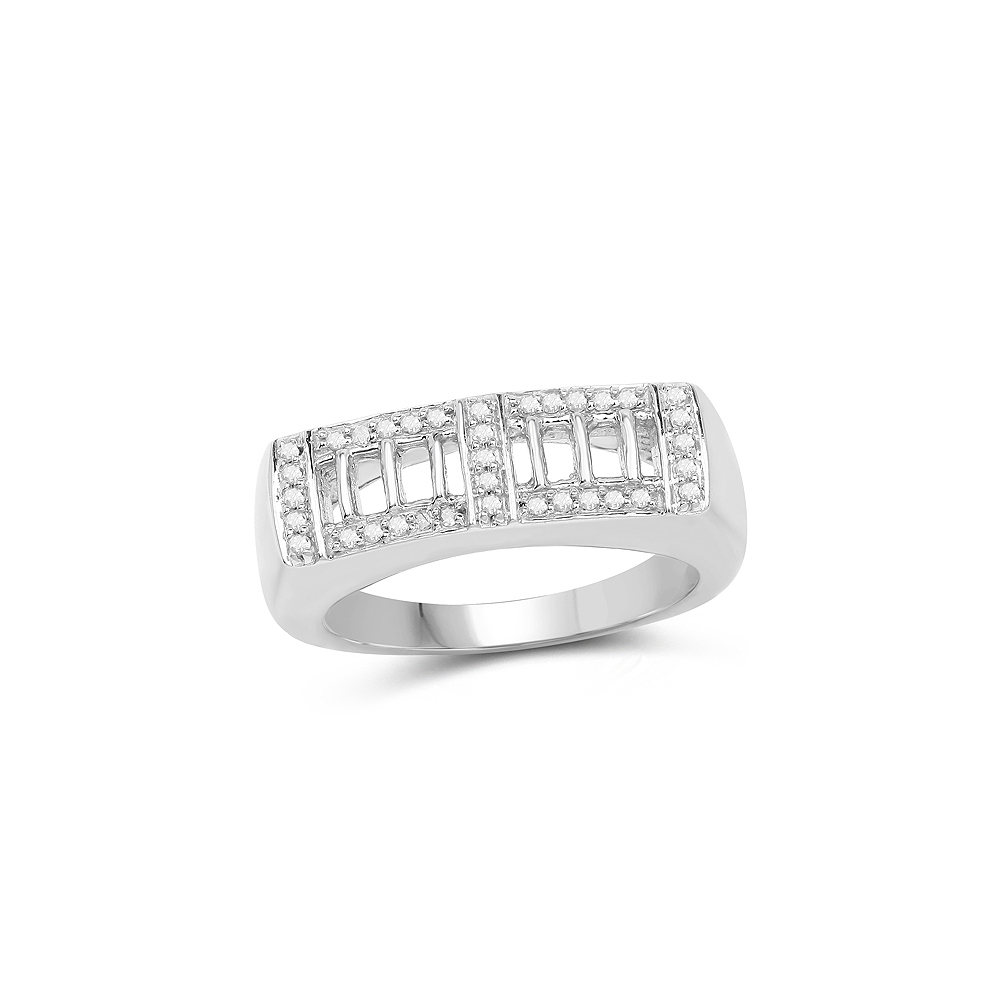 0.19 CTW Genuine White Diamond .925 Sterling Silver Ring