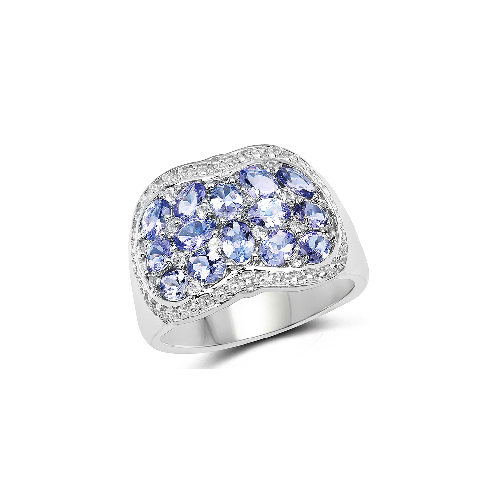 2.62 CTW Genuine Tanzanite & White Topaz .925 Sterling Silver Ring