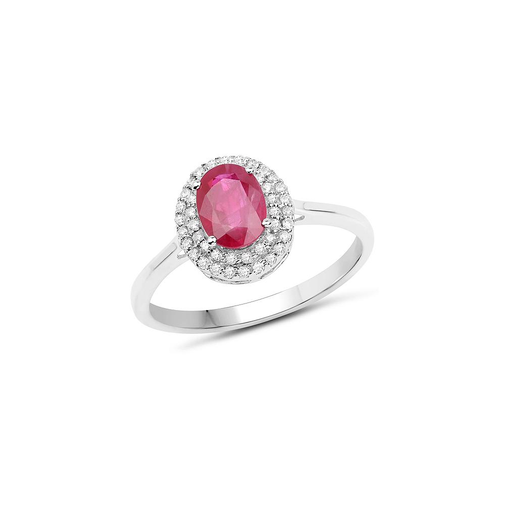 1.13 CTW Genuine Ruby & White Diamond 14K White Gold Ring