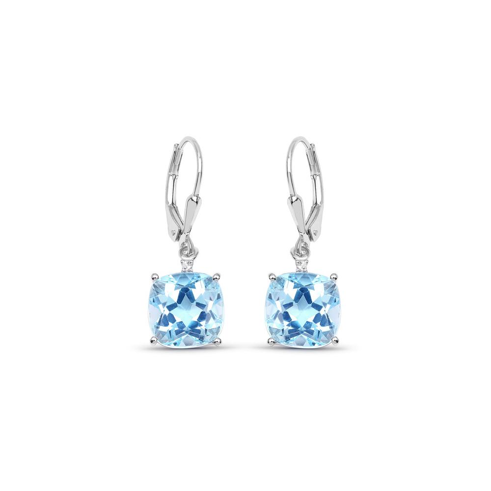 8.83 CTW Genuine Blue Topaz & White Topaz .925 Sterling Silver Earrings