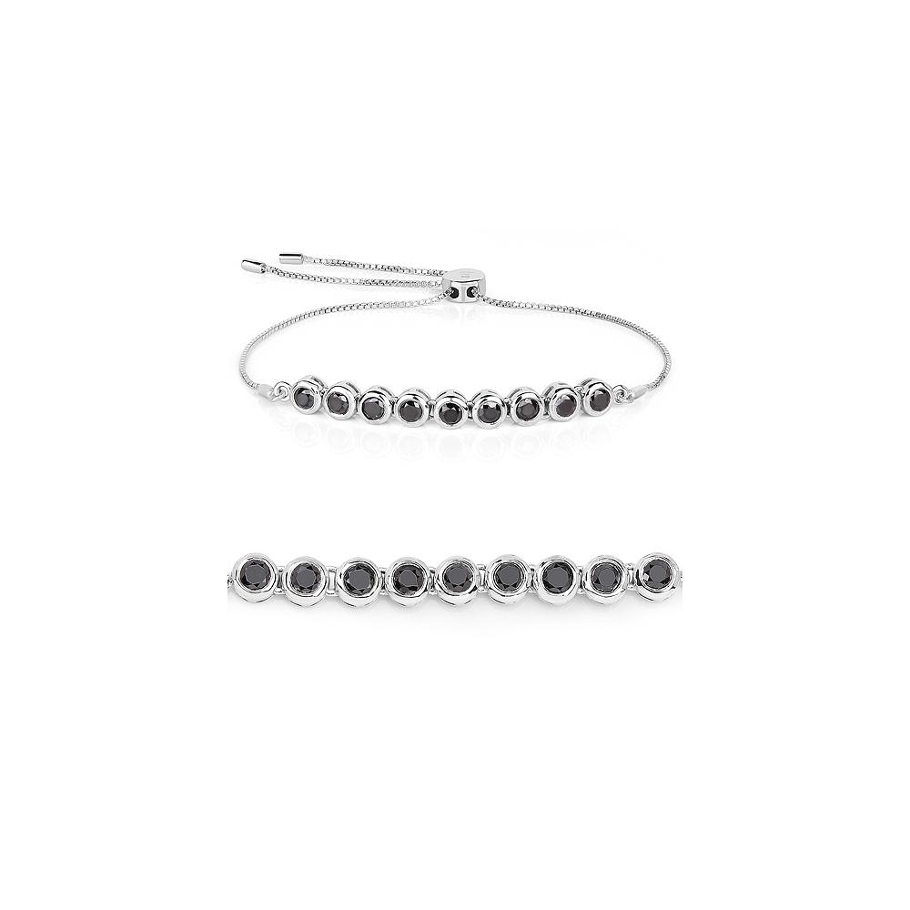 1.58 CTW Genuine Black Diamond .925 Sterling Silver Bracelet