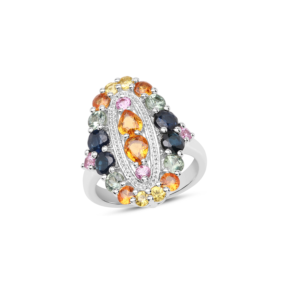 3.84 CTW Genuine Multi Sapphire .925 Sterling Silver Ring