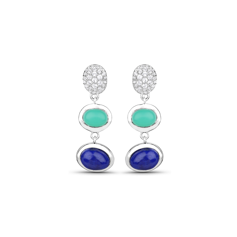 5.21 CTW Genuine Crysopharse, Lapis & White Topaz .925 Sterling Silver Earrings