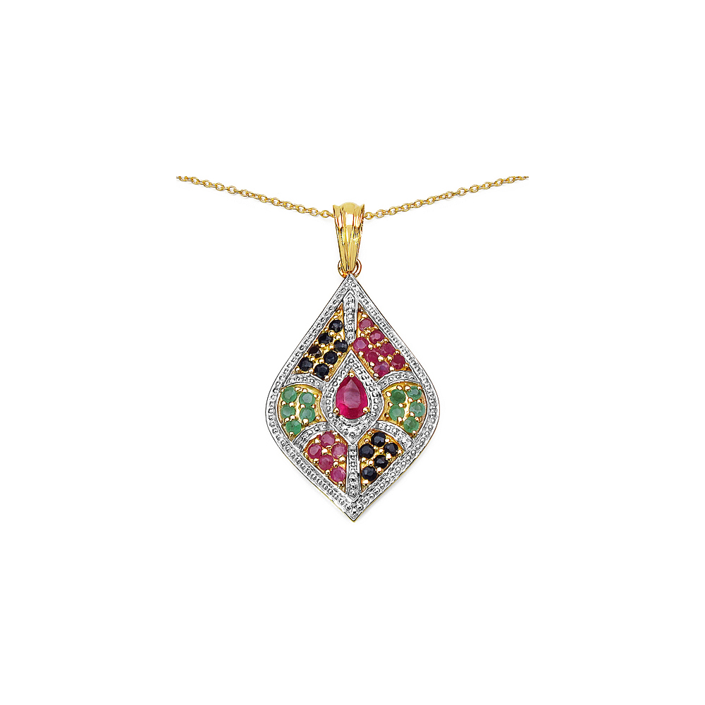 0.45 CTW Glass Filled Ruby Pendant with 1.58 CTW Multi-Gems in Sterling Silver