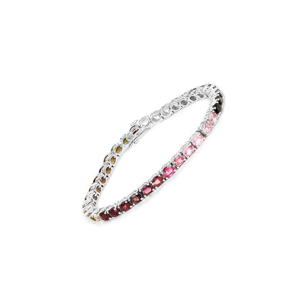Lot 30160: 11.16 CTW Genuine Pink Tourmaline, Green Tourmaline & Brown Tourmaline .925 Sterling Silver Bracelet