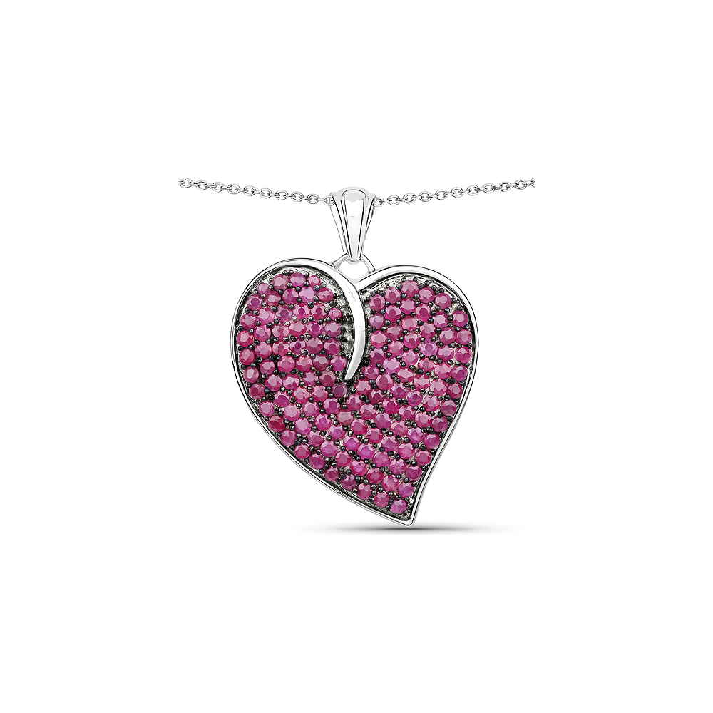 4.98 CTW Genuine Ruby .925 Sterling Silver Pendant