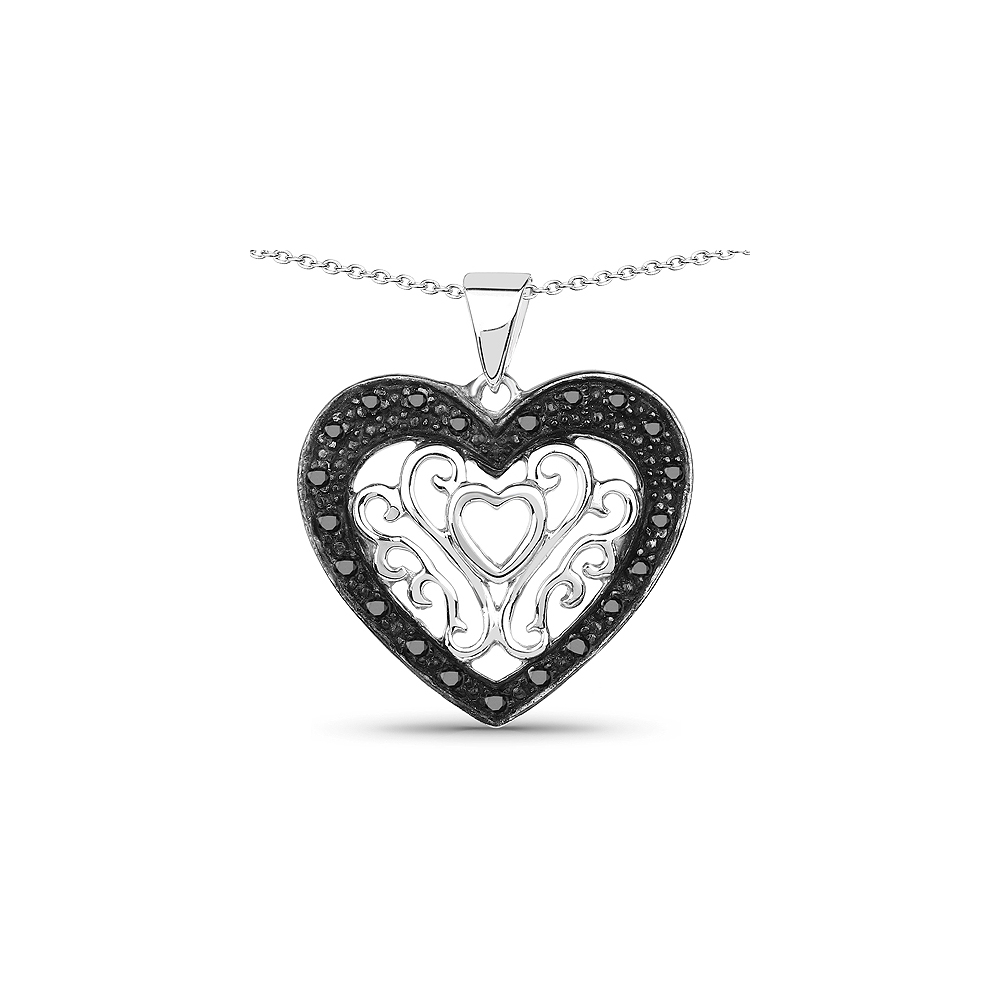 0.22 CTW Genuine Black Diamond .925 Sterling Silver Pendant