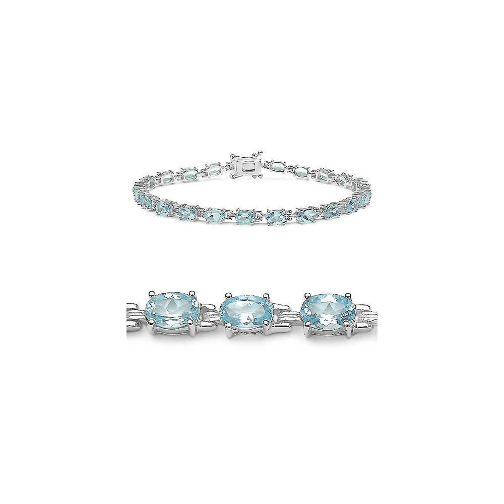 14.30 CTW Genuine Blue Topaz .925 Sterling Silver Bracelet