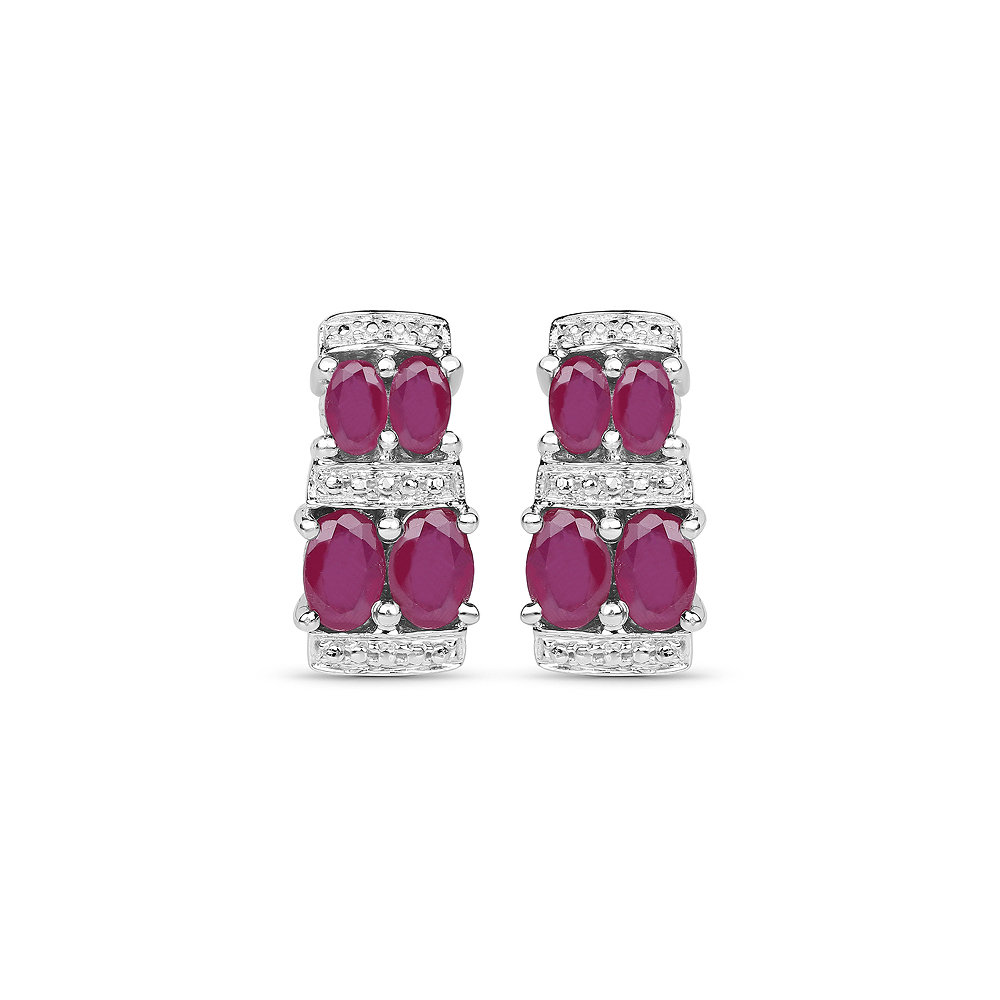 3.20 CTW Glass Filled Ruby .925 Sterling Silver Earrings