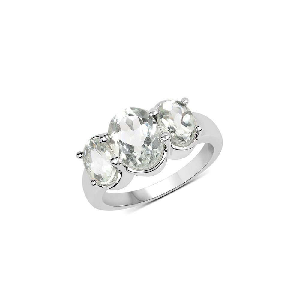 3.30 CTW Genuine Green Amethyst .925 Sterling Silver Ring
