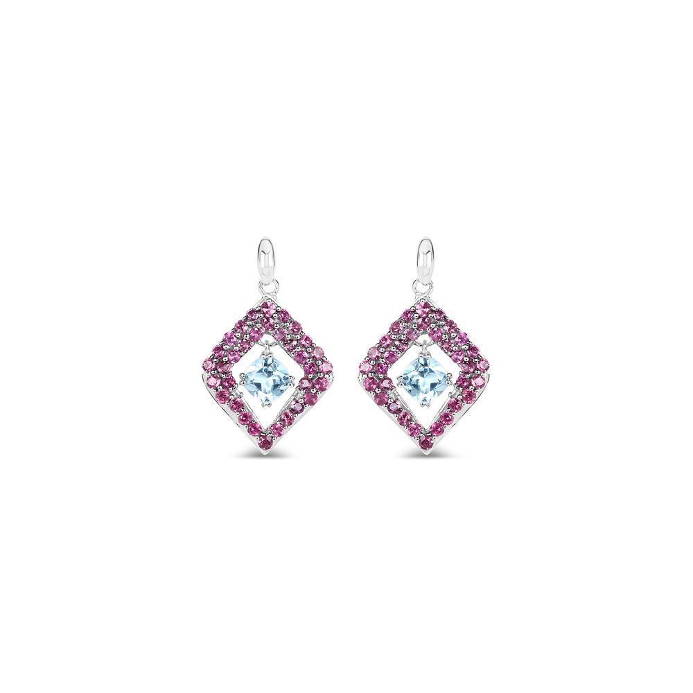 5.70 CTW Genuine Blue Topaz & Rhodolite .925 Sterling Silver Earrings