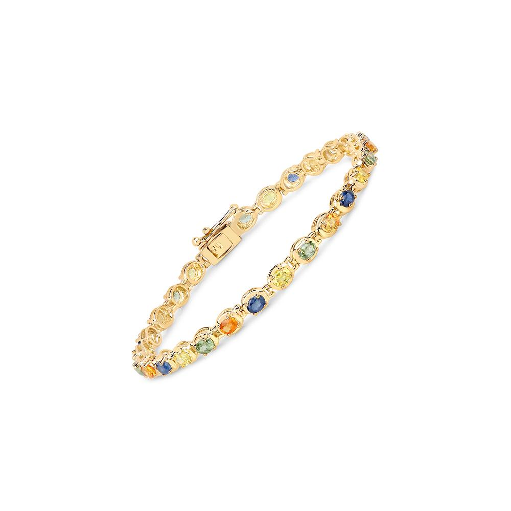 5.40 CTW Genuine Multi Sapphire .925 Sterling Silver Bracelet