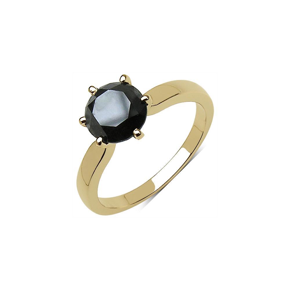 2.29 CTW Genuine Black Diamond 10K Yellow Gold Ring