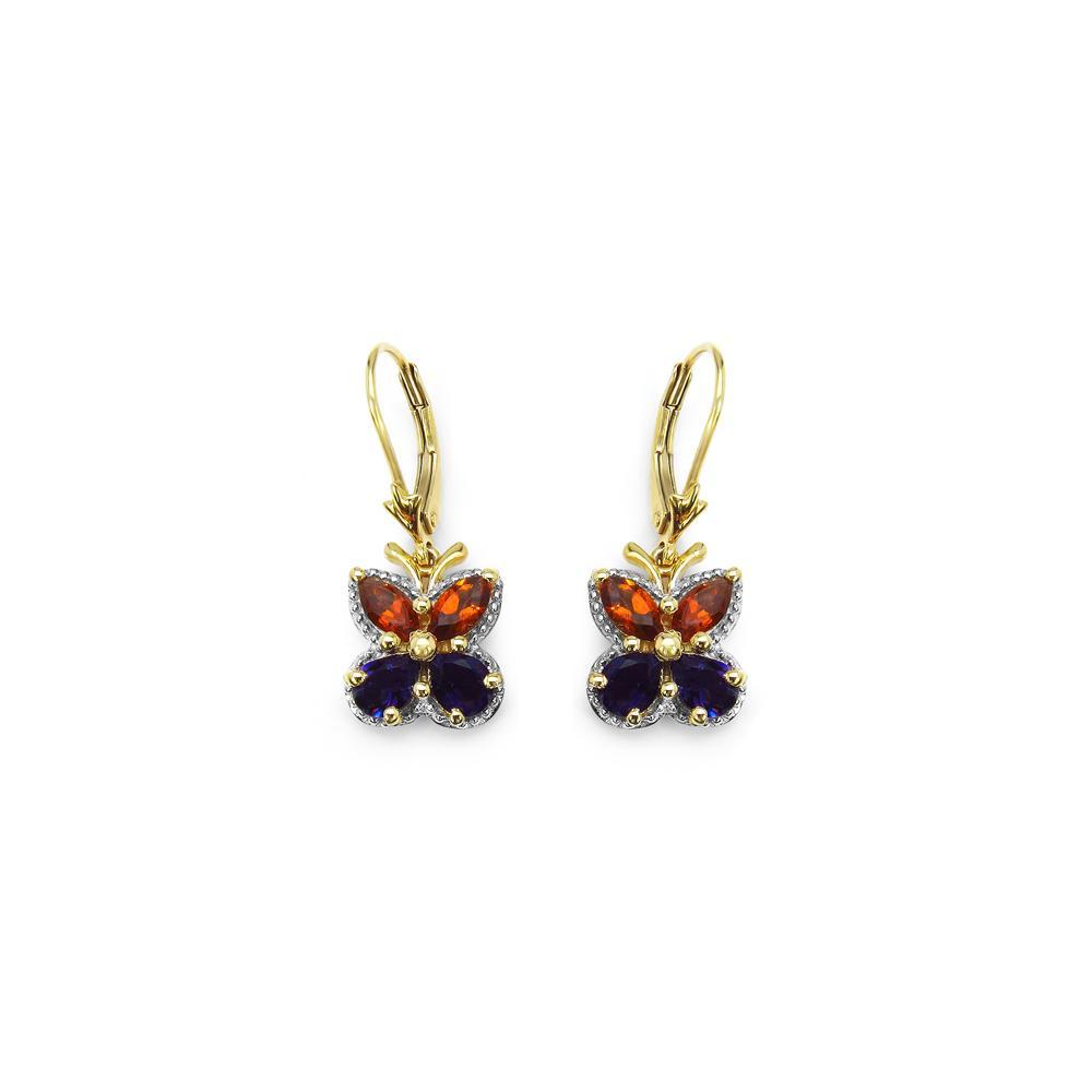 2.16 CTW Genuine Citrine & Amethyst .925 Sterling Silver Earrings
