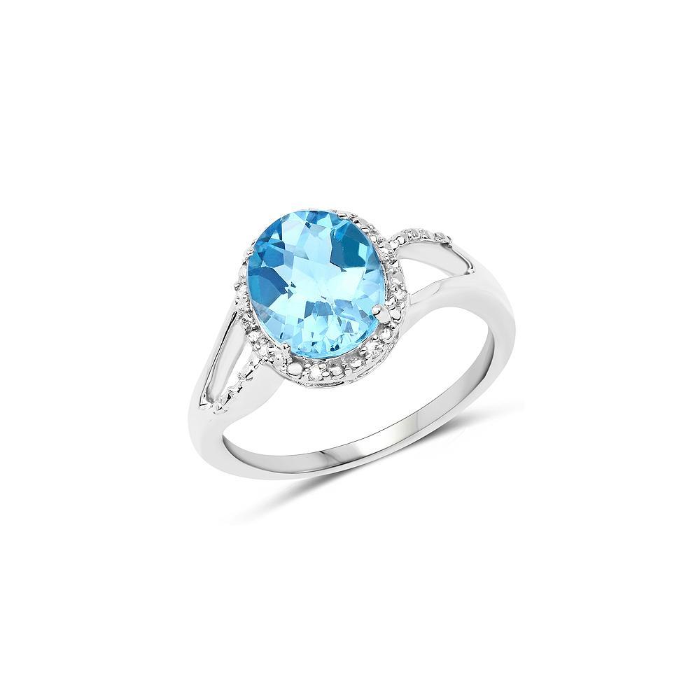 3.29 CTW Genuine Swiss Blue Topaz & White Diamond 10K White Gold Ring