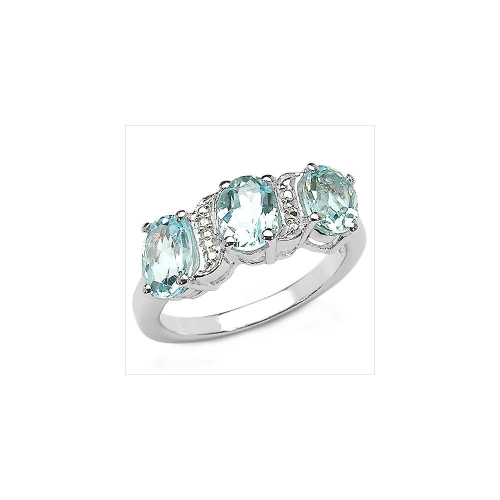 3.00 CTW Genuine Blue Topaz .925 Sterling Silver Ring