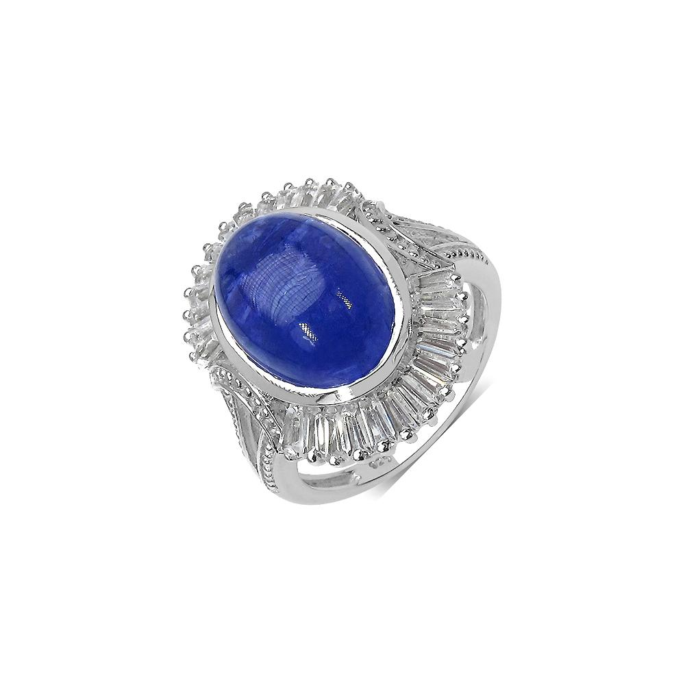 10.26 CTW Genuine Tanzanite .925 Sterling Silver Ring