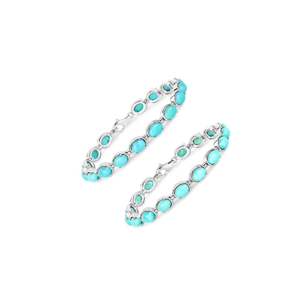 13.92 CTW Genuine Turquoise .925 Sterling Silver Bracelet