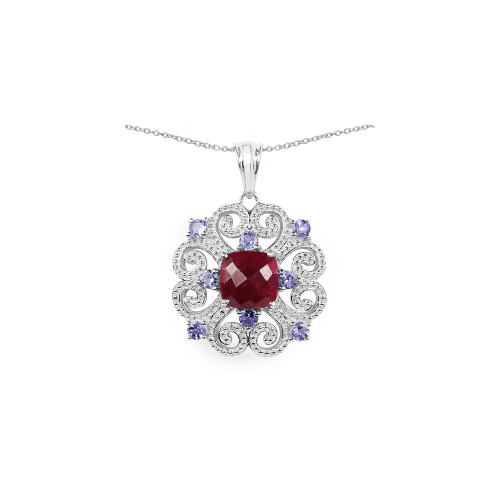 4.45 CTW Treated Ruby & Tanzanite .925 Sterling Silver Pendant