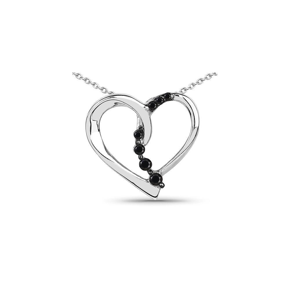 0.10 CTW Genuine Black Diamond .925 Sterling Silver Pendant