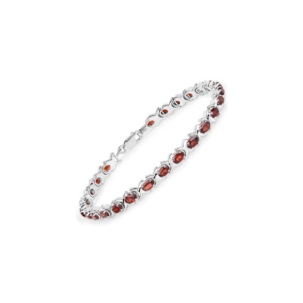 8.00 CTW Genuine Garnet .925 Sterling Silver Bracelet