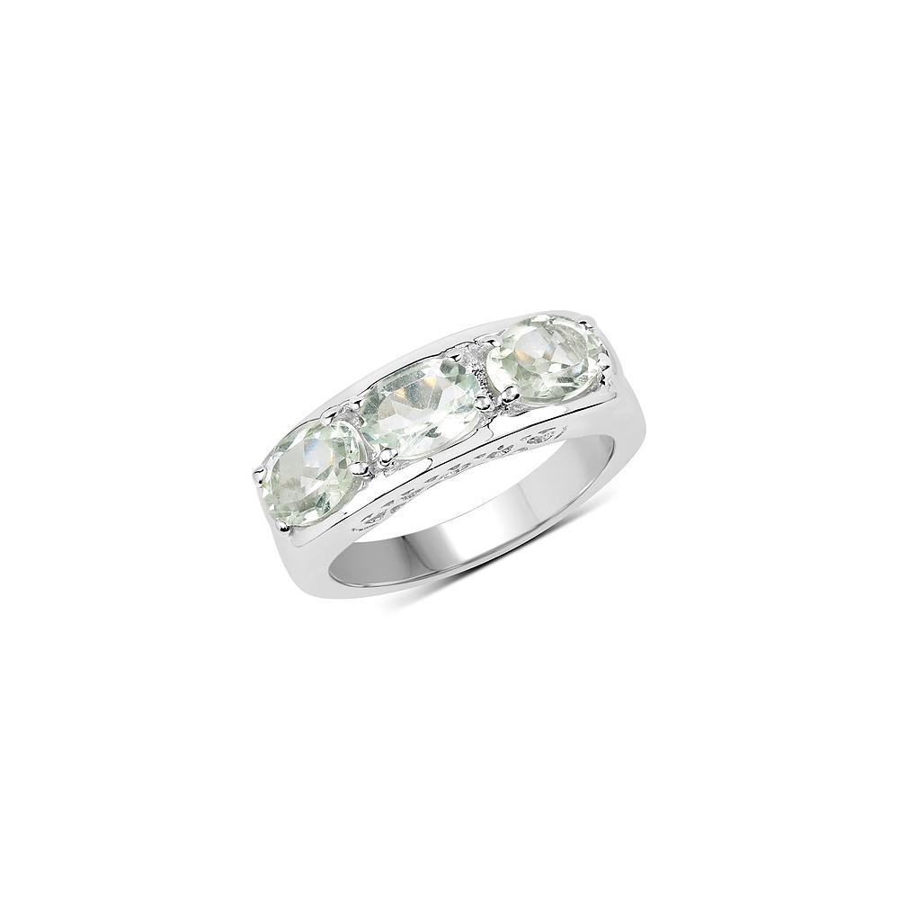 2.40 CTW Genuine Green Amethyst .925 Sterling Silver Ring