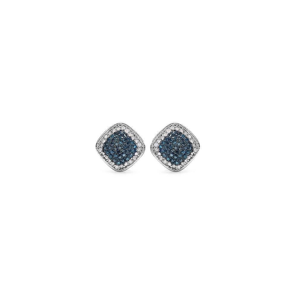 0.69 CTW Genuine Blue Diamond & White Diamond .925 Streling Silver Earrings