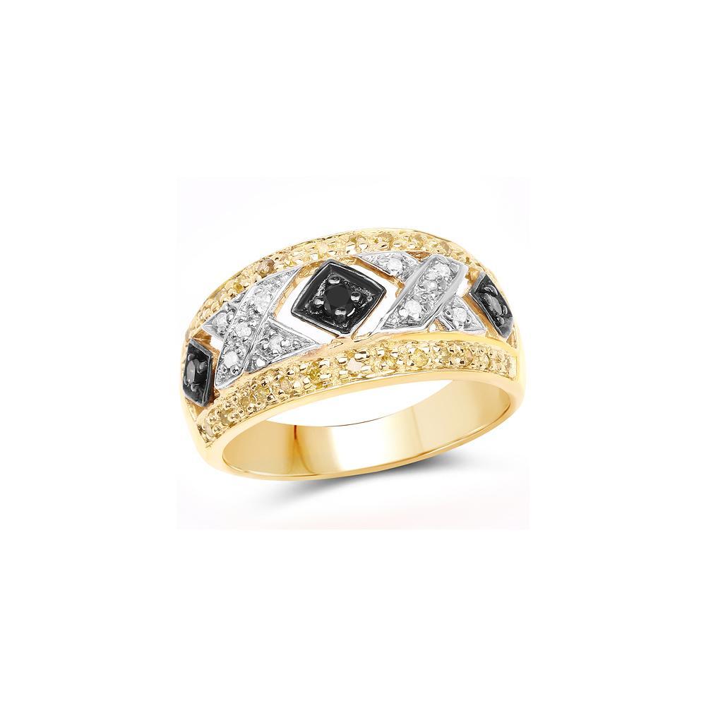 0.28 CTW Genuine Black Diamond, White Diamond & Yellow Diamond .925 Sterling Silver Ring