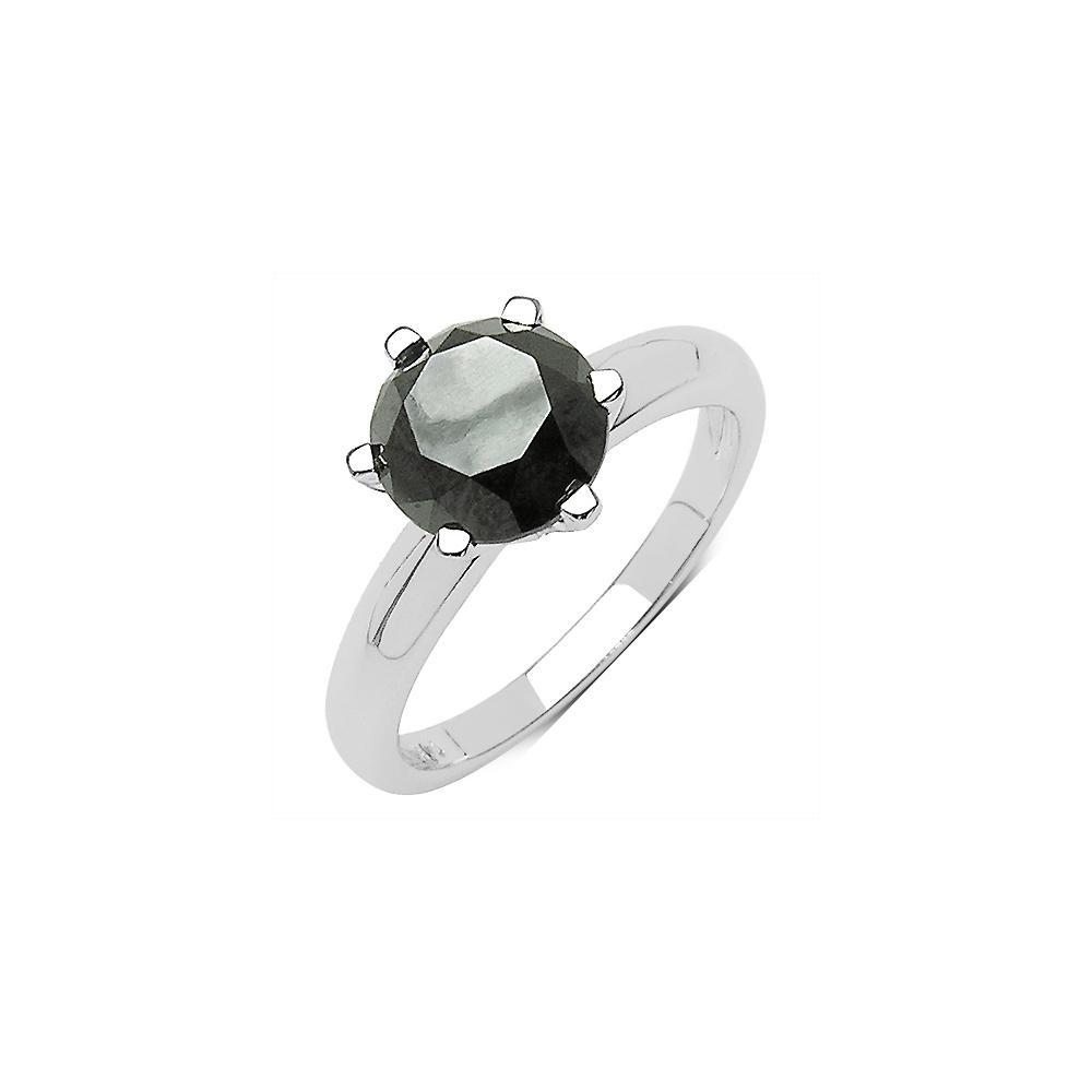 3.56 CTW Genuine Black Diamond 10K White Gold Ring