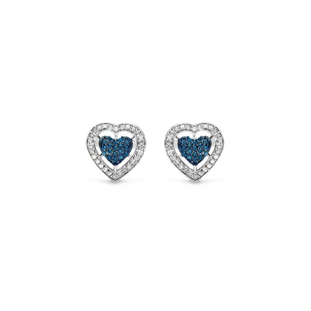 0.53 CTW Genuine Blue Diamond & White Diamond .925 Streling Silver Earrings