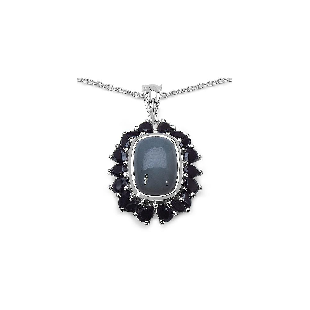 8.60 CTW Grey Moonstone & Black Spinel Pendant in Sterling Silver